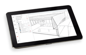 Drawing Pad with 3D building sketch created using Sketchup Pro.
